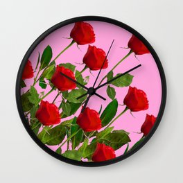 RED LONG STEMMED ROSES ON PINK Wall Clock