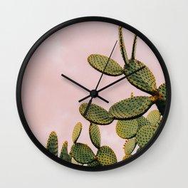 Cactus on Pink Sky Wall Clock