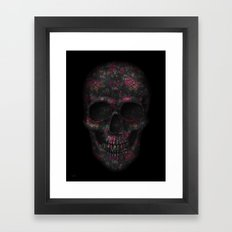 Skull Black Flowers Framed Art Print