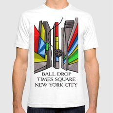 Ball Drop Times Square White Mens Fitted Tee SMALL