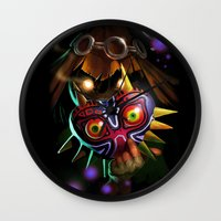 majoras mask Wall Clocks featuring Majoras Mask by Max Grecke