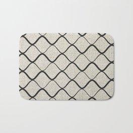 Black Bege Modern Lines Pattern Bath Mat