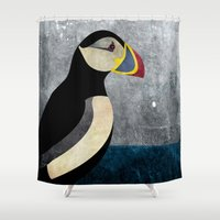 puffin Shower Curtains featuring puffin by John Beswick