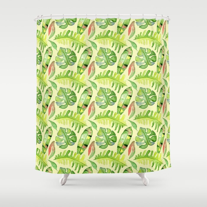 Hand painted green red watercolor tropical cheese leaves Shower ...
