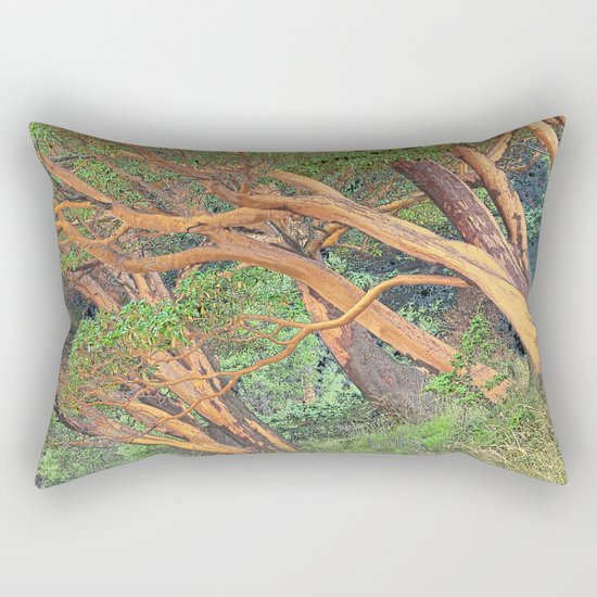 ORCAS ISLAND MADRONA TREES IN A PARALLEL REALITY FOREST Rectangular Pillow