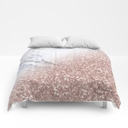 Blush Pink Sparkles on White and Gray Marble V Comforters