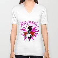dangan ronpa V-neck T-shirts featuring Monokuma by Alightedsylph