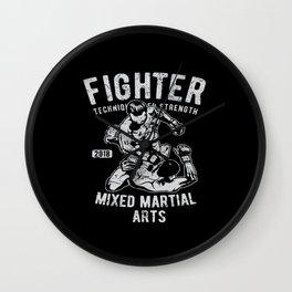 Fighter Mixed Martial Arts Bjj Jiu Jitsu Wall Clock