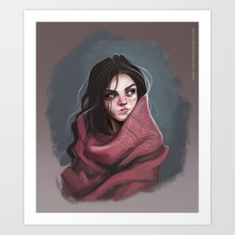 Wild Girl in the cold night Art Print