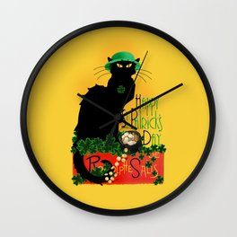 St Patrick's Day - Le Chat Noir Wall Clock