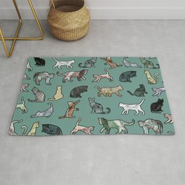 Cats shaped Marble - Green Rug
