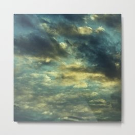Cloudy Gray Blue Sky Vintage Metal Print
