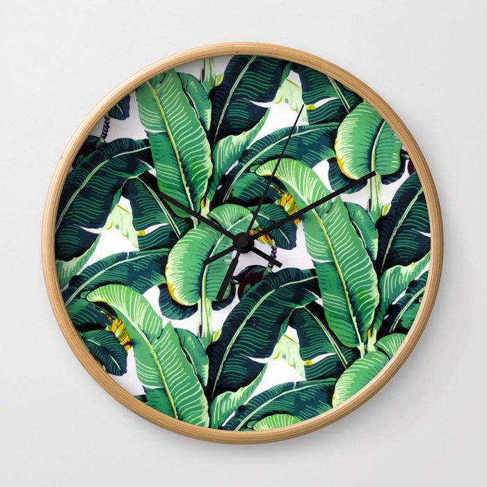 Tropical Banana leaves pattern Wall Clock