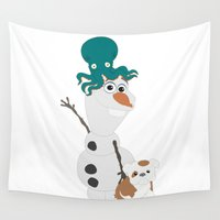 olaf Wall Tapestries featuring Olaf & Pals by Cheshire Giraffe