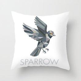 Sparrow Text Low Polygon Throw Pillow