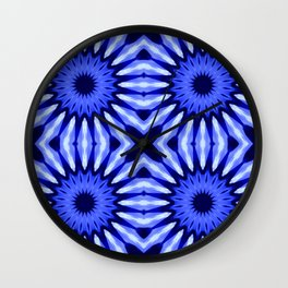 Blue Flowers Mandala Pattern Wall Clock