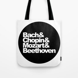 Bach and Chopin and Mozart and Beethoven, sticker, circle, black Tote Bag