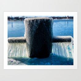 Frozen Mooring Cleat on the Dock, Dunkirk Pier Art Print