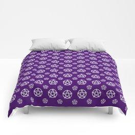 Dark Purple White Pentacle Pattern Comforters