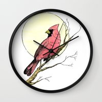 cardinal Wall Clocks featuring Cardinal by Eric Weiand