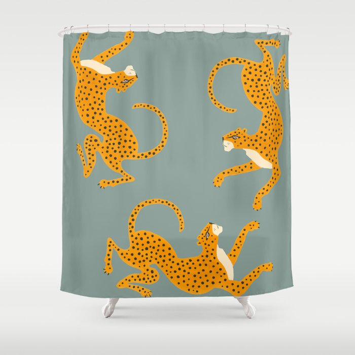 Leopard Race - blue Shower Curtain