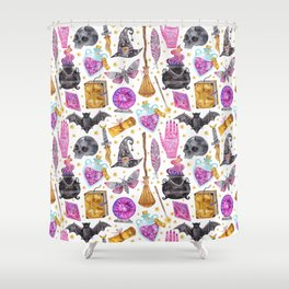 Pink gold black watercolor hand painted halloween pattern Shower Curtain