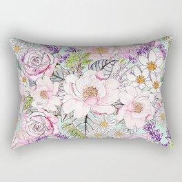 Watercolor garden peonies floral hand paint Rectangular Pillow