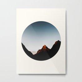 Mid Century Modern Round Circle Photo Sharp Mountain Silhouette Sunrise Metal Print