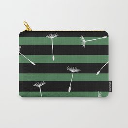 flying dandelion seeds simple seamless pattern on Dark Green Stripes Background Carry-All Pouch