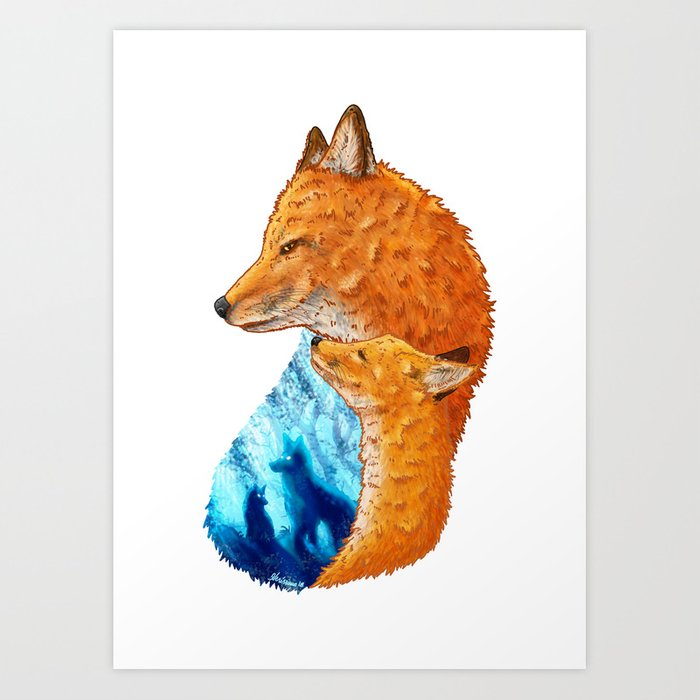 Serene Foxes Art Print