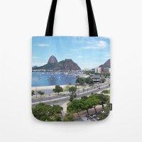 rio de janeiro Tote Bags featuring Rio de Janeiro Landscape by Fernando Macedo