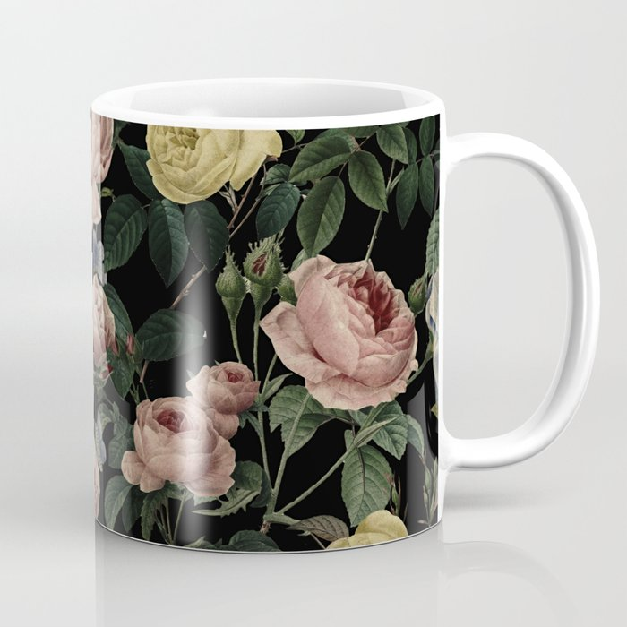 Vintage Roses and Iris Pattern - Dark Dreams Coffee Mug