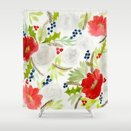 Winter Watercolor Florals Red & White Shower Curtain