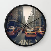 fifth element Wall Clocks featuring Fifth Avenue  by Laura Ruth
