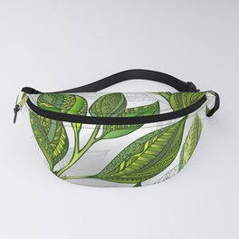 Seamless Pattern with Green Tea Leaves Fanny Pack