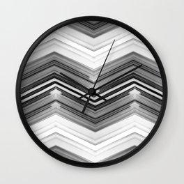 Geometric Wave - Black and White Minimal Geometric Art Wall Clock