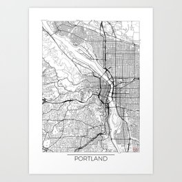 Portland Map White Art Print