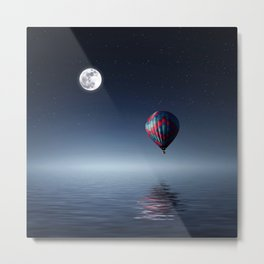 Moon & Balloon Metal Print