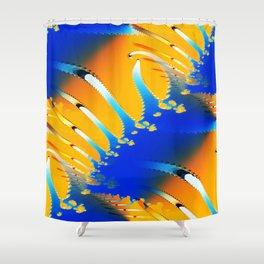 Lava Meets the Sea Fractal Shower Curtain