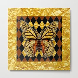 ABSTRACTED BROWN & GOLD MONARCH BUTTERFLY Metal Print