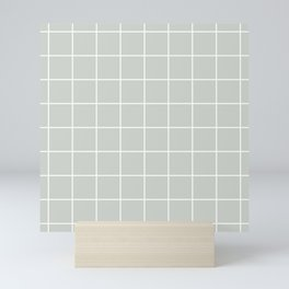 Gray Grey Grid Sea Salt Mini Art Print