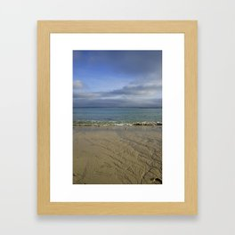 Patterns in the Sand with Blue Skies Above Framed Art Print
