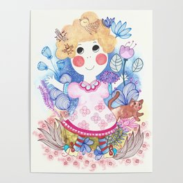 Girl in the garden Poster