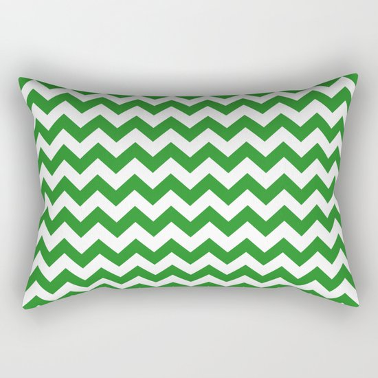 Chevron (Forest Green/White) Rectangular Pillow
