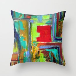 The never ending Maze: Bright Multi Color Abstract Painting Throw Pillow
