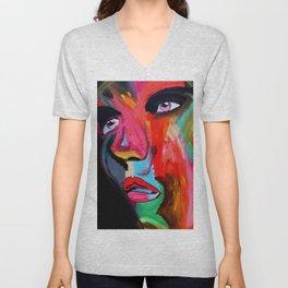 Color Bomb Modern Face Art Unisex V-Neck