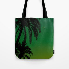 Tropical Palm Tree Silhouette Green Ombre Sunset Crescent Moon At Night Tote Bag
