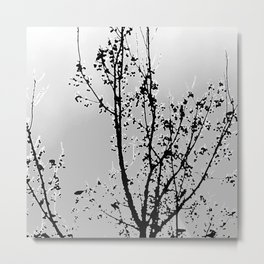 distant tree with birds, black and whiter Metal Print