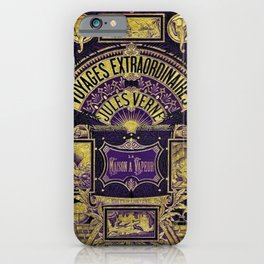 Jules Verne Voyages Extraordinaire Purple Lithographic Print by Jeanpaul Ferro iPhone Case