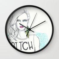 bitch Wall Clocks featuring bitch by Guadalupe Jiménez